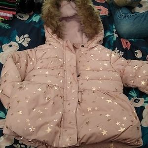 EUC Pink fitted puffer with hood, gold star print